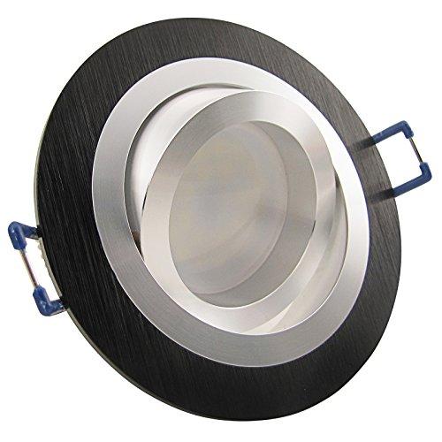 NOBLE S2 LED 12er Set 6W dimmbar 230V GU10 Decken Einbaustrahler Schwarz Aluminium Kalt-Weiß schwenkbar drehbar Einbauleuchte Einbauspot Downlight