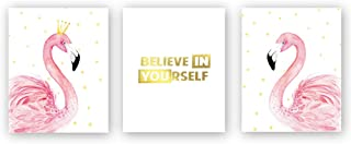 Sanrx Pink Flamingo King Queen Print Picture&Believe in Yourself Quote Gold Foil Print,Sweet Love Painting Inspirational Cardstock Art Poster for Living Room Decor(Set of 3, 8'' x 10'',Unframed)