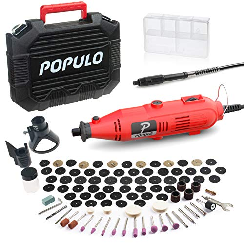 POPULO Rotary Tool Kit with 107 Accessories and Flex Shaft, Variable Speed Engraving Tool Kit for Wood Engraver Crafting Gifts and DIY Creations
