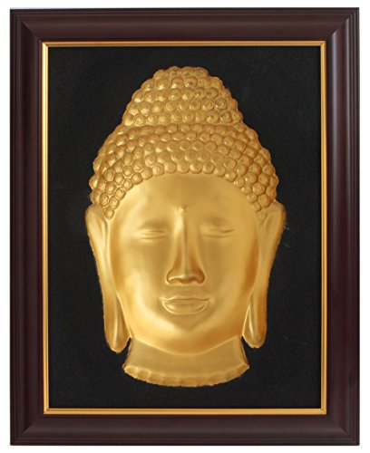 Buddha Groove 3D Concave Wall Sculpture of Buddha Face with Gold Finish & Optical Illusion Effect | Made of Cast Resin | Wall Hanging | 19 x 15 Inches