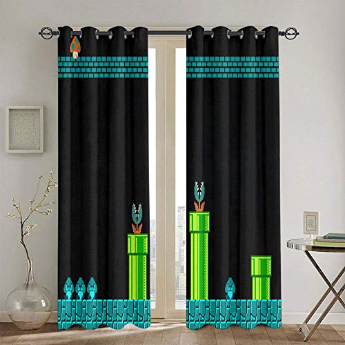Cortinas opacas para oscurecimiento de la habitación, Super Mario Odyssey, con aislamiento térmico, cortinas oscurecedoras para sala de estar, 183 x 160 cm