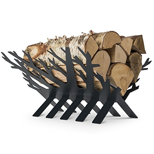 Rustic Fireplace Log and Wood Holder - Indoor, Outdoor, Patio - Gunmetal Grey Decorative Holders -...