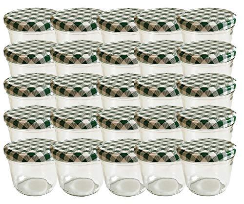 hocz Vorratsgläser-Sturzgläser Set | Menge 25 Stück | Füllmenge 230 ml | inkl. Schraubdeckel Deckelfarbe Grün Karriert 25 Etiketten NZ zum beschriften | Allrounder für Marmeladengläser