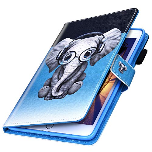 MoreChioce kompatibel mit Samsung Galaxy Tab E 9.6 T560 Hülle,Bunt Elefant Tablet Smart Cover Schutzhülle Wallet Protective Case Stand Etui Bumper Brieftasche mit Auto Sleep/Wake Funktion
