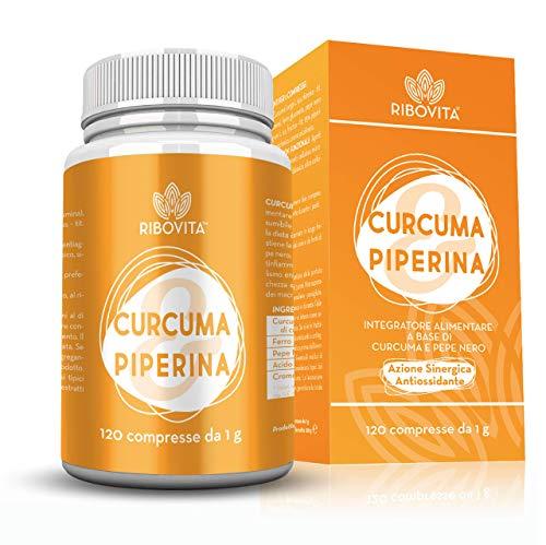 RIBOVITA Integratore Curcuma e Piperina Plus Naturale Curcumina 95% con Vitamina B5, Ferro e Cromo120 Compresse ad Alto Dosaggio Dimagrante Antinfiammatorio - Brucia Grassi