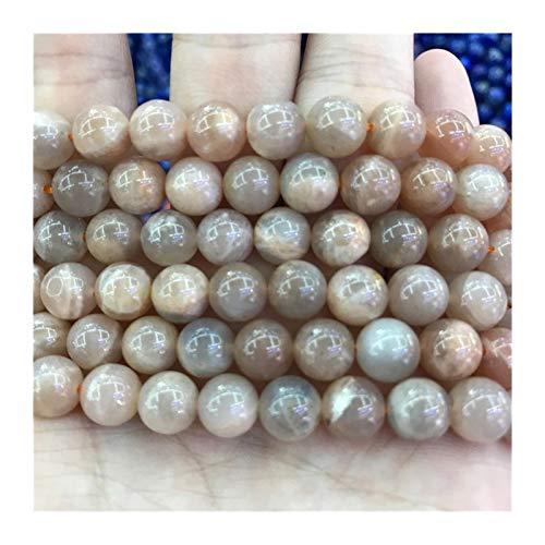 HETHYAN Cuentas de Piedras Naturales de Naranja Moonstone Perlas de Color Rosa Flojo Redondo Sunstone 6/8 / 10 mm Piedra Preciosa for la joyería Que Hace la Pulsera del Collar
