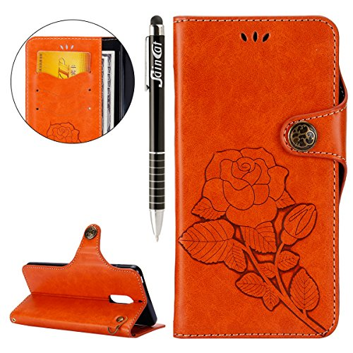 Custodia Nokia 6, Cover Nokia 6 Fiori Rose, SainCat Custodia in Pelle Cover per Nokia 6, Ultra Sottile Anti-Scratch Book...