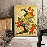 Japonés Ukiyokai flor abstracta patrón piel feliz gato vida monstruo cartel retro arte de la pared lienzo pintura dormitorio sala de estar oficina decoración del hogar