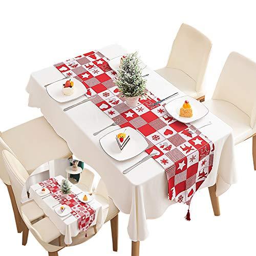 Gxhong Weihnachten Waschbarer Quasten Tischläufer Gestrickter Baumwolle, Winter Weihnacht Tischdecke für Küche, Party Dekoration