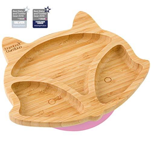 Plato de succión para bebés y niños con forma de zorro, plato de bambú natural rosa rosa