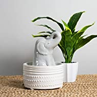 Foreside Home and Garden Elephant Indoor Water Fountain with Pump, Gray, White