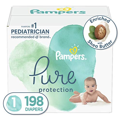 Size 1, 198 Count – Pampers Pure Disposable Baby Diapers, Hypoallergenic and Fragrance Free Protection, ONE Month Supply