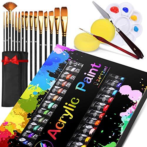Pintura Acrílica, Gifort 24 x 12 ml Kit de Pintura Acrílica con 15 pinceles para Lienzo, Papel, Madera y Tela, Colores Alta Cobertura y de Secado Rápido, para Principiantes y Profesionales