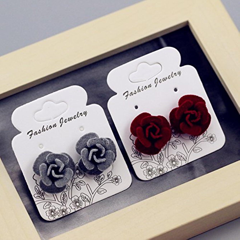 TKHNE Version fresh style big flower earrings accessories ear jewelry sweet handmade cloth roses earrings Korea