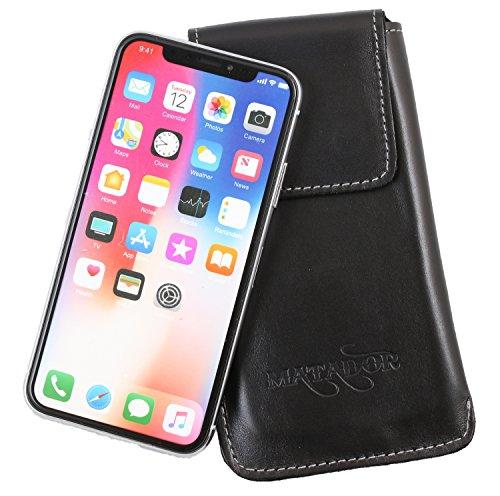 MATADOR Leder Tasche Hülle Hülle Etui Gürteltasche kompatibel mit Apple iPhone X/XS oder iPhone 11 Pro (Schwarz)