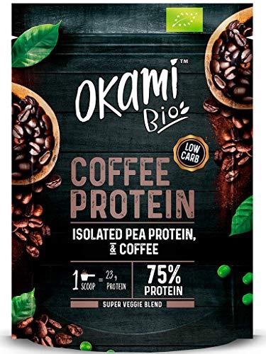 Okami Bio   Proteína De Guisante con Café   Proteína Vegana   Incrementa la Energía   500gr.   Sin Gluten   Contiene los 9 Aminoácidos Esenciales para el Cuerpo Humano  Fácil Asimilación