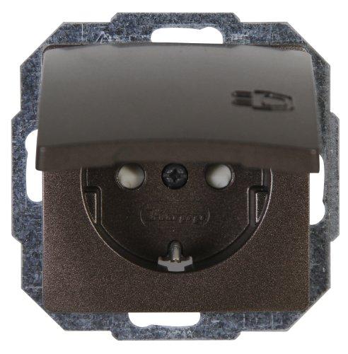 Kopp Paris Steckdose 1-fach für den Haushalt, 250V (16A), IP20, Schutzkontakt-Steckdose mit Deckel und erhöhtem Berührungsschutz, Unterputz, einfache Wandmontage, palisander-braun, 920826067