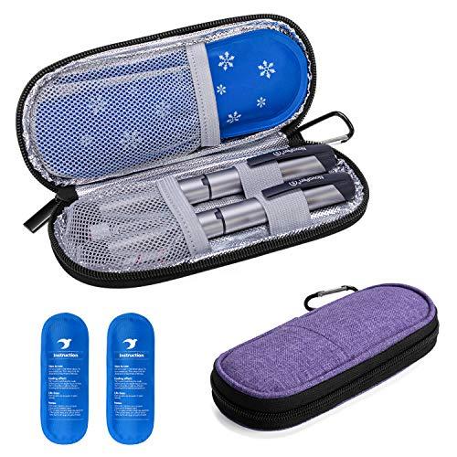 Yarwo Diabetiker Tasche mit Kühlakku für Insulin, Insulin Kühltasche für Zuckerkrank Medikamente, Reisetasche für Insulin Pen, Insulinspritzen, Insulin und Andere Diabetikerzubehör, Klein, Lila