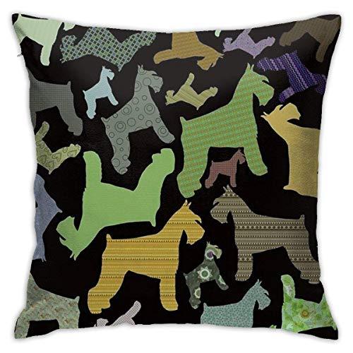 N/Q 45X45cm Throw Pillowcase,Cute Schnauzer Combination Art Square Outdoor Pillowcase Sofa Cover Decorative Cushion Cover, Soft, Used for Car Bed Living Room