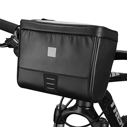 Bike Handlebar Bag Waterproof Bicycle Handlebar Bag Frame Bag for Riding Bicycle Front Bag for Road MTB Outdoor (Color : Black, Size : 21x12.5x16cm)