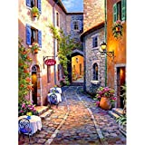 5D DIY Diamond Painting by Number Kits for Adults, Street View Roadway Diymood Painting Paint with Diamonds Arts Full Drill Wall Decoration Mosaic Home Decor 12x16inch