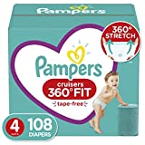 Diapers Size 4, 108 Count - Pampers Cruisers 360° Fit Disposable Baby Diapers, Enormous Pack (Packaging May Vary)