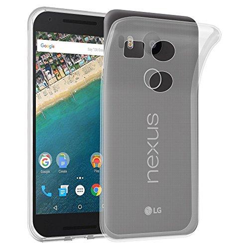 Cadorabo Custodia per LG Nexus 5X in Transparente - Morbida Cover Protettiva Sottile di Silicone TPU con Bordo Protezione - Ultra Slim Case Antiurto Gel Back Bumper Guscio
