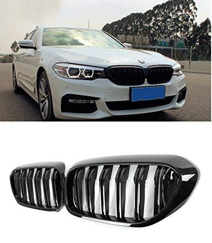 MAX Carbon ® kompatibel mit BMW 5er G30 G31 M50i M550d 520 530 540 Front Grill Nieren Kühlergrill Ziergitter Front hochglanz Schwarz Sport