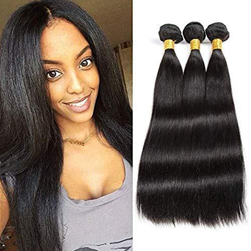 Blisshair 8A cabello humano virgen brasileño remy recto de 3 paquetes de extensiones de cabello humano sin procesar color natural para mujer 10' 12' 14'
