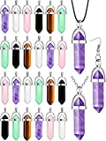 20 Pieces Amethyst Bullet Shape Pendant Rose Quartz Clear Quartz Hexagon Pointed Natural Crystal Pendant Gemstone Pointed Chakra Pendants for Necklace Earrings Bracelet Jewelry Making (Multicolored)