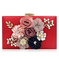 Floral Red Clutch With Pearls and Rhinestones Purse