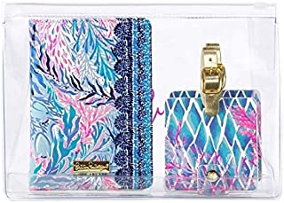 Lilly Pulitzer Kaleidoscope Coral Travel Set (Passport Holder & Luggage Tags (2))