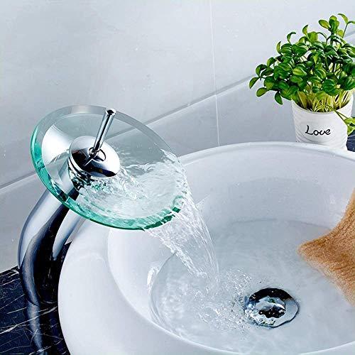 KEKEYANG Cuarto de baño baño cobre cromo grifo de cristal cascada lavabo...
