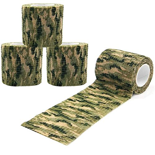 GOOMAND カモフラージュテープ 伸縮 ジャングル迷彩 偽装 長4.5m 幅5cm 【4個セット】 (草緑迷彩)