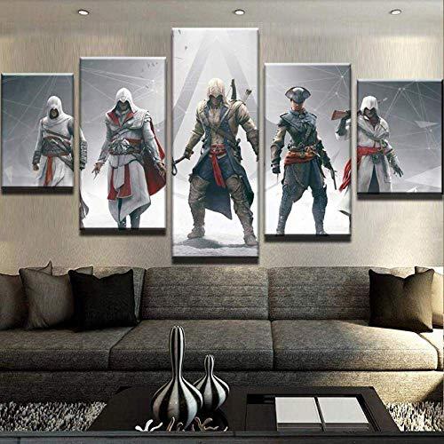 CVBGF 5 Impresiones artísticas de Alta definición, Póster Juego de Figuras Assassin'S Creed imágenes gráficas artísticas, Carteles e Impresiones Modernas de Alta definición,con Marco