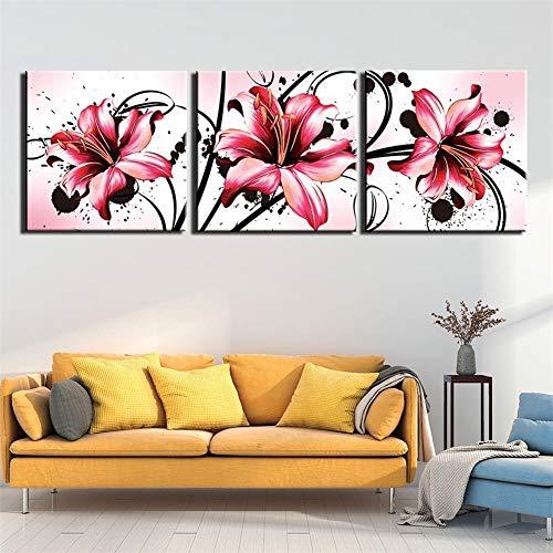 oahc 3 Parties Impression d'art Images Lily Rose 180x60cm 3...