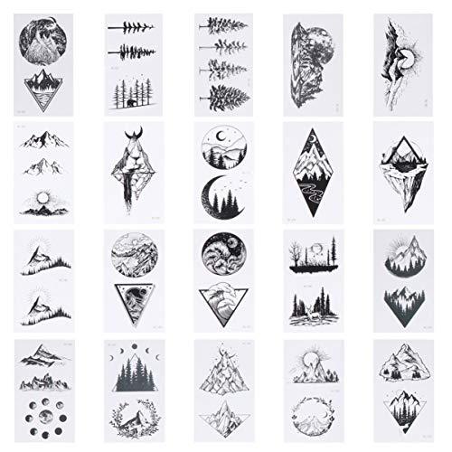 Minkissy 20 Blatt Geometrie Tattoo Aufkleber Dreieck Berg Temporäre Tattoos Wasserdicht Körper Arm Kunst Zeichnung Gefälschte Tattoo Aufkleber Schwarz
