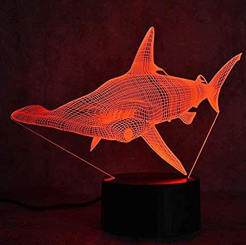 ZWANDP 3D Illusion lamp Night Light Hammerhead Shark ShapeAmazing Effects Optical Foil Light Children Bedroom Sleep Light Holiday Gift USB 7 Colors