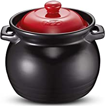 Cast Iron Dutch Oven, Natural Ceramic Round Casserole, With Lid And Two Handles, Pre-Flavored Cast Iron Pot, Black.
