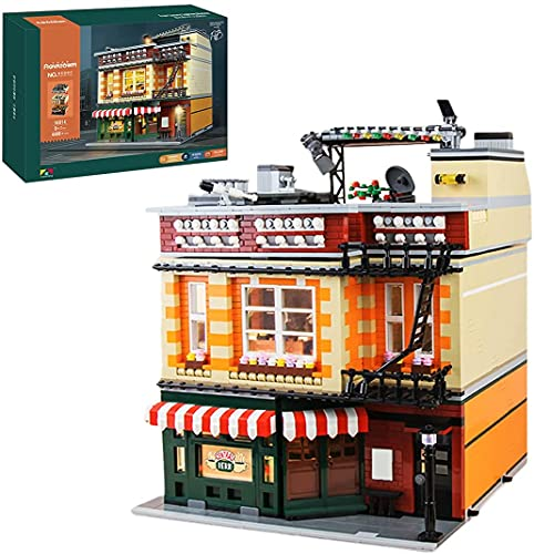 Mould King 16014 Friends Cafe Urban Street View Kreativserie, 4488 Stück Dreistöckiges Design Modernes Coffeeshop-gebäudemodell Mit Beleuchtung, Kompatibel Mit Lego House