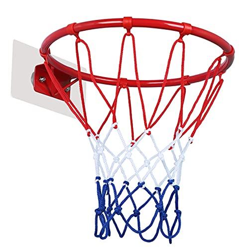 Canasta para Baloncesto Aro De Baloncesto para Niños Montado En La Pared, Aro De Baloncesto De Hierro para Interiores con Ganchos Adhesivos, con Pelota Y Bomba De Aire, 25 Cm / 30 Cm (Size : 30cm)