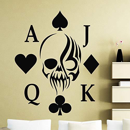 wopiaol Poker Muursticker Holdem Skull Card Suits Casino Club Deur Venster Vinyl Stickers Tieners Slaapkamer Woonkamer Home Decor Mural