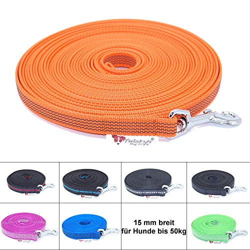 Twinkys Dog Style Made IN Germany Schleppleine Hundeleine gummiert 15 mm breit für Hunde bis 50 kg - OHNE Handschlaufe 10 Meter Orange