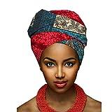 Yijinstyle Turbante Bufanda de Impresión Ethnic Pañuelo Headwrap de Colores Brillantes Africana para Mujer (Style#7, 50 * 180cm)