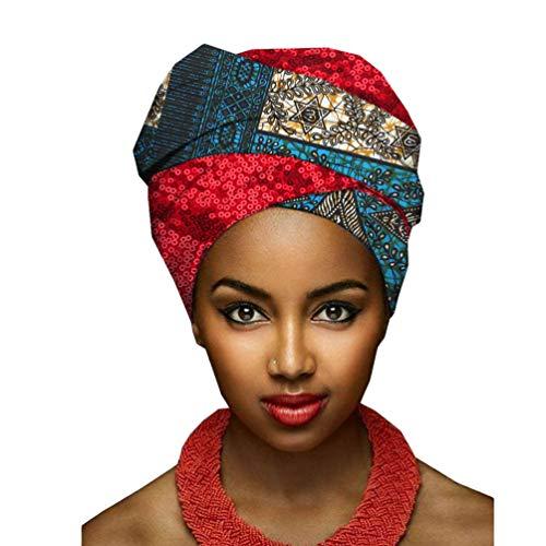 Yijinstyle Damen Afrikanischen Muster Bedruckte Kopftuch Atmungsaktiv Wrap Turban Kopfbedeckung Kopf Wickeln Schal (Style#7, 50 * 180cm)