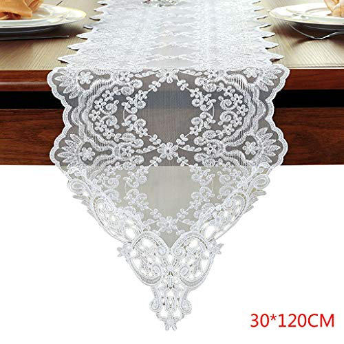Tabel vlag Desk Runner Lace Hollow-out White Coffee Wedding Party Decoration TV-meubel tafelkleed