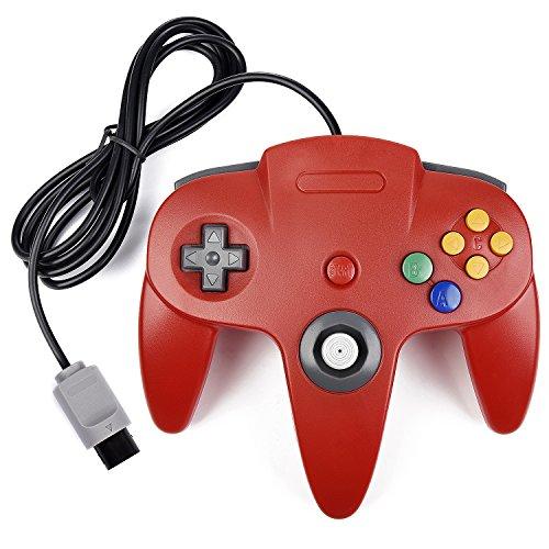 miadore Retro 64 N64 Controllerunde Gamepad Controller Joystick für N64 Konsole N64 System,Rot