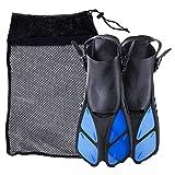 KAILH Premium Flossen mit Verstellbarer Ferse für Erwachsene, Flossentasche zum umhängen, Unisex für Damen & Herren, ideal zum Tauchen, Apnoe, Schnorcheln und Schwimmen, Blau