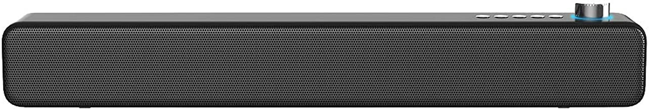 LENRUE PC Soundbar, Wired and Wireless Speaker 10W 3D Surround Sound with Bass, Support for Projector, Tablet, PC, Desktop, Phone and TV (AUX/RCA, Black)