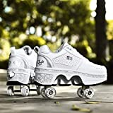 Roues Patins,Patins A roulettes Reglables Deform Wheels Skates Roller Shoes Kick Roller Shoe Roller Skates Casual Sneakers Walking Skates pour Enfants,EUR35